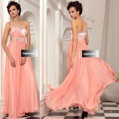 Beautiful Orange One Shoulder Engagement Evening Ball Gown Prom Dresses SKU-122663