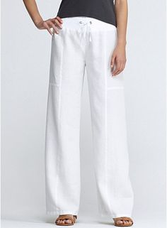 Fashion plus size clothing straight linen pants Women wide leg ...