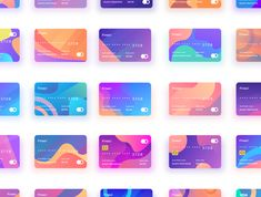 Finaci Financial debit/credit card UI 30 Cards with gradient with different color combination. Finaci Financial debit/credit card UI 30 Cards with gradient with different color combination. Web Design, Id Card Design, Credit Card Design, Layout Design, Print Design, Palette Pastel, Palette Diy, Credit Card App, Business Credit Cards