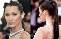 Step-by-step guide on how to recreate Bella Hadid's sleek Cannes red carpet look. #ponytail