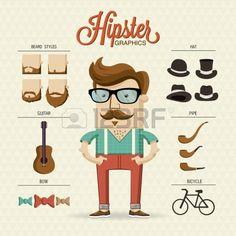 Hipster car cter ilustraci n con elementos de ltima moda y los iconos Foto de archivo
