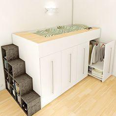 Une mezzanine qui intègre dans sa structure des armoires-dressings coulissante. Une solution astucieuse pour les petits espaces de Archéa