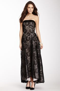 Jill Jill Stuart Strapless Floral Embroidered Gown