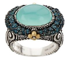 Barbara Bixby Sterling/18K Cabochon Pave' Gemstone Ring