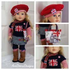 Union Jack  complete  outfit  clothes for 18 inch doll - american girl doll