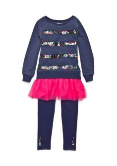 Flapdoodles  Sequin Stripe French Terry Dress Set Girls 4-6x