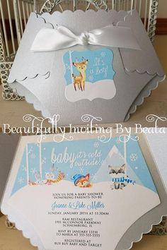 Baby its cold outside!! Come in and celebrate the baby to be! $2.50 Base price includes: *Diaper Cover in Metallic Silver Blue {approx 6.25W x 4.5H} *Inside Mat printed on White Metallic card stock {approx 5.75 x 4H} *Inside mat professionally printed *Smooth white blank A6