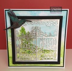 8x8 Card made using Crafter's Companion Create a Card die - Grand Entrance. Designed by Pauline Orr. #crafterscompanion