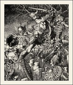 Conan fighting reanimated skeletons by Barry Windsor Smith! Awesome!  Do you know another artist who does better pen & ink?