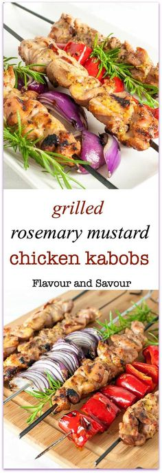 These Paleo Grilled Rosemary Mustard Chicken Kabobs are tender bites of chicken, glazed with fresh rosemary and a mixture of Dijon and grainy mustard. They're succulently sweet and slightly spicy.  via @enessman