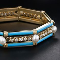French Antique Diamond Enamel and Pearl Bracelet - 40-1-3976 - Lang Antiques