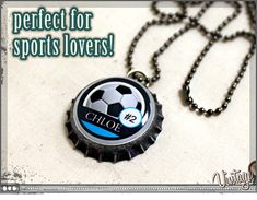 bottle cap soccer necklace