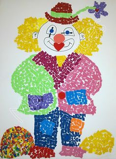 I could have children make a torn paper clown. It takes time, but they're always so cute and unique. Clown Crafts, Carnival Crafts, Carnival Themes, Circus Activities, Craft Activities For Kids, Crafts For Kids, Fete Halloween, Halloween Crafts, Drawing For Kids