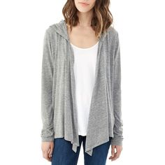 Alternative Hooded Jersey Cardigan ($48) ❤ liked on Polyvore featuring tops, cardigans, eco grey, draped open front cardigan, jersey cardigan, grey drape cardigan, hooded cardigan and gray cardigan