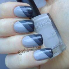 Silvia Lace Nails: Grey two stripe gradient
