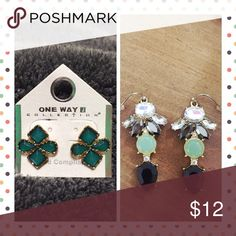 EARRING BUNDLE EARRING BUNDLE || This is for BOTH pair. One is turquoise studs. The other is black, mint green, diamond drop earrings. Neither have been worn. Jewelry Earrings