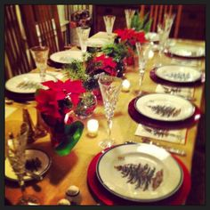 Christmas dinner - I've always loved the classic china setting here!