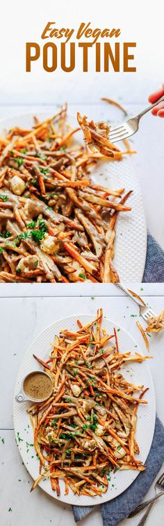 AMAZING Vegan Poutine! Crispy baked fries, mushroom gravy, and vegan cheese curds!! 10 Ingredients, BIG flavor, SO delicious! #poutine #recipe #plantbased #glutenfree #minimalistbaker