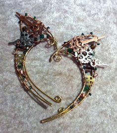 Steampunk Fairy Elf Ears with Green Swarovski Crystals with a dash of Green.
