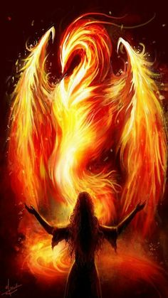 Here is the Phoenix! Kiriban for the th pageview for , it's her character, Su, who is summoning the mythical bird of fi. The Phoenix Magical Creatures, Fantasy Creatures, Fantasy Kunst, Fantasy Art, Rise From The Ashes, Fire Element, Phoenix Rising, Dark Phoenix, Fire Art