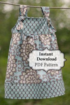 Apron Knot Dress Sewing PDF Pattern Sizes 3m by pitterpatternshop