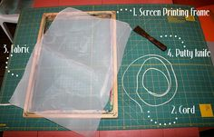 Screen Printing Tutorial DIY Projects Craft Ideas & How To's for Home Decor with Videos Crafts To Make And Sell, Diy Arts And Crafts, Craft Tutorials, Diy Projects, Craft Ideas, Screen Printing Frame, Diy Frame, Fabric Painting, Diy Tutorial