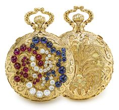 PROPERTY OF THE ESTATE OF EUNICE JOYCE GARDINER Tiffany & Co, New York A FINE AND MASSIVE 18K YELLOW GOLD HUNTING CASED REPEATING SPLIT SECOND CHRONOGRAPH WATCH SET WITH DIAMONDS, SAPPHIRES AND RUBIES CIRCA 1900