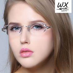 6b9e3f1e9b6 South Korea Diamond trimming titanium rimless glasses diamond female  spectacle frames glasses frame glasses female shipping