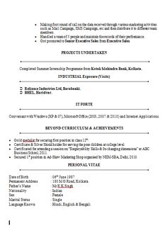 Resume Template of a SAP Certified Professional with Great Work ...