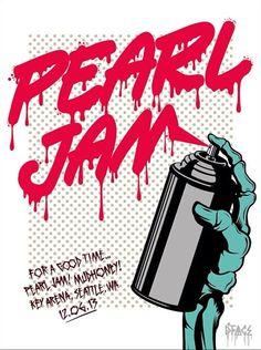Pearl Jam - Poster - 06/12/2013 - Seattle - Art by D*Face - Lightning Bolt Tour 2013