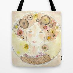 Bag Donnedispirito. Donna, acquarello, borsa stampata, spazio, mandala...