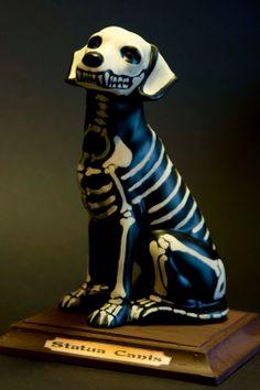 Ceramic dog skeleton