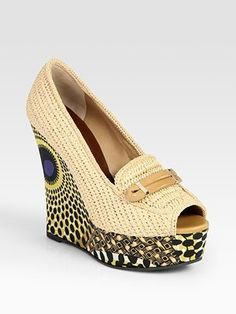 ShopStyle: Raffia and Leather Printed Wedge Loafers