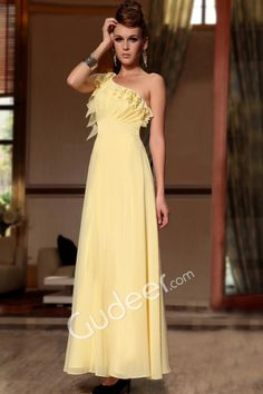 Light Yellow Ruffle One Shoulder Graduation Prom Gown with Empire Ruched Bodice