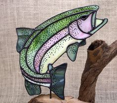 Rainbow Trout with Dragonfly Stained Glass with by BerlinGlass