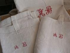3 pc Antique Linen Vintage Tea Towels French Linen & Cotton Towels Monogram AB Rustic Kitchen Farmhouse French Home Decor