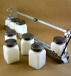 Vintage Milk Glass Spice Jars