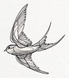 Stitch lofty, tattoo-like styles with this unique bird design!
