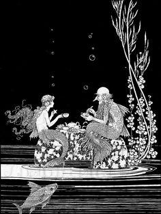 Vintage Fairies, Vintage Mermaid, Mermaid Art, Mermaid Paintings, Tattoo Mermaid, Mermaid Style, Mermaid Illustration, House Illustration, Girl Illustrations