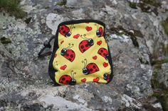 Ladybird Bug Chalk Bag for Climbing Yellow and Black Belt Rock Climbing, Climbing Chalk, Black Belt, Bouldering, Bugs, Coin Purse, Wallet, Yellow, Red