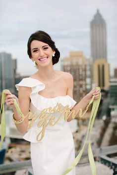 Gem Inspired Bridesmaid Luncheon as featured on Grey Likes Weddings // planning by Marilisa Schachinger for Chancey Charm // Photography by Lauren Carnes // Sign by Host & Toast // Dress by Kirribilli // Make Up by Becca Whittinghill // Hair by Claudia Verduzco // Wardrobe Styling by Courtney Clymer for LifeStyled