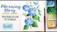 Watercolor Flower Painting Morning Glory/ Floral Friday/ Step by Step Tu... Painting & Drawing, Watercolor Paintings, Floral Paintings, Watercolors, Watercolour Tutorials, Painting Tutorials, Watercolor Flowers, Painting Flowers, Sales And Marketing