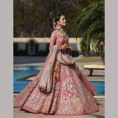 Designer Bridal Lehenga, Pink Bridal Lehenga, Wedding Lehenga Designs, Indian Wedding Lehenga, Pink Lehenga, Lehenga Choli, Sabyasachi Wedding Lehenga, Wedding Lehanga, Sharara Designs