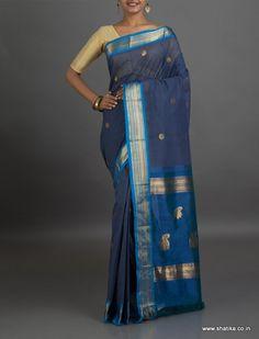 Chamanti Cool Blue Silk Border with #zariwork #GadwalCottonSaree
