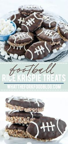 Chocolate Rice Krispies Treats are turned into Football Rice Krispie Treats for game day! They're a chocolate treat base cut … Chocolate Rice Krispies, Homemade Rice Krispies Treats, Chocolate Treats, Gluten Free Chocolate, Chocolate Fudge, Gluten Free Marshmallows, Recipes With Marshmallows, Homemade Marshmallows, Gluten Free Desserts