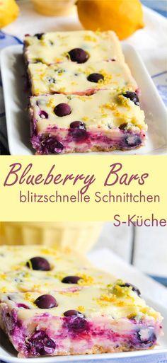 Süß-saurer und fruchtiger Sommerkuchen! Blitzschnelle Schnittchen mit Keksboden, Blaubeeren und Zitrone.