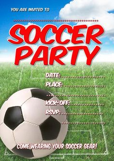Soccer invitation soccer party soccer birthday tailgate soccer birthday party invitations free filmwisefo