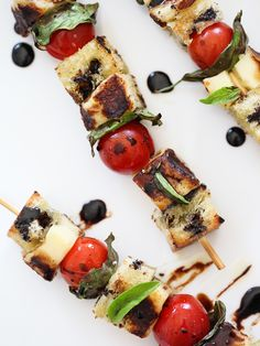 Grilled Halloumi Cheese Skewers on foodiecrush.com #skewers