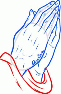 how to draw praying hands tattoo step 9