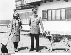 Adolf Hitler, Eva Braun, Hitler's dog Blondi, and Braun's dog at Obersalzberg, Bavaria, Germany, 14 Jun 1942